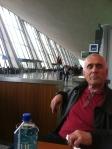 Bob waiting/napping @ Dulles Airport